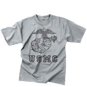 Vintage Grey USMC Globe & Anchor T Shirt - View