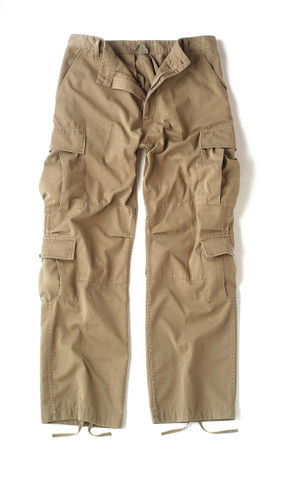 Vintage Paratrooper Khaki Fatigue Pants - Flat Front View