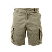 Vintage Khaki Cargo Fatigue Shorts - Front View