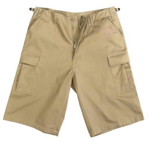 Khaki Longer BDU Shorts - View