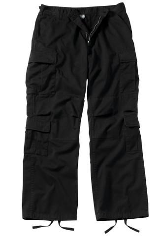 Vintage Black Paratrooper Fatigue Pants - Front Flat View