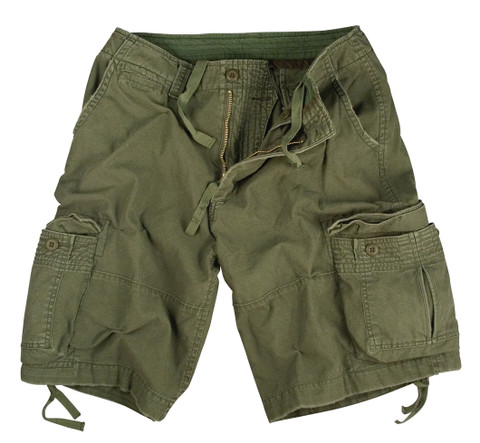 Vintage Olive Drab Infantry Utility Short - Flat View
