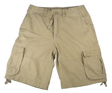 Vintage Infantry Khaki Fatigue Shorts - Flat View