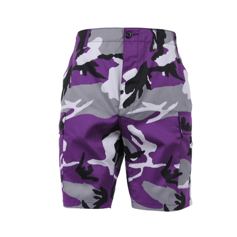 Purple Camo BDU Military Shorts - Front View
