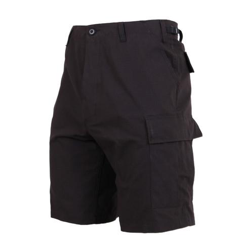 Black BDU Military Shorts - Side View