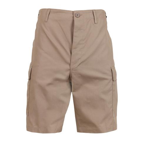 Khaki BDU Military Field Shorts - Front View
