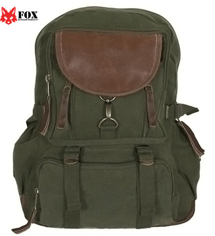 Vintage Olive Green Retro Parisian City Daypack - Fox View
