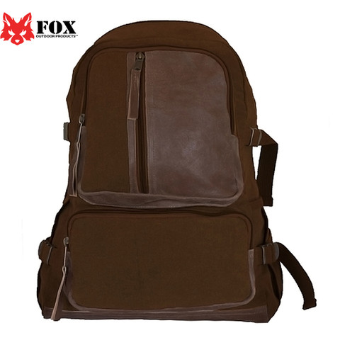 Vintage Brown Retro Airman's Backpack - Fox View