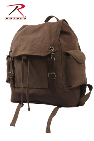 Vintage Brown Expedition Rucksack - Rothco View