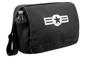 Army Air Corps Black Messenger Bag - Front View