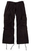 Womens Black Vintage Fatigue Pants - View