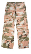 Womens Vintage Pink Camo Fatigue Pants - View