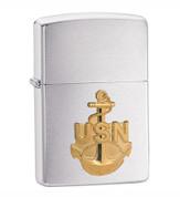 Zippo Silver Navy Crest Zippo Chrome Lighter