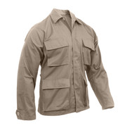 Rothco Khaki Poly/Cotton BDU Fatigue Jacket - Front View