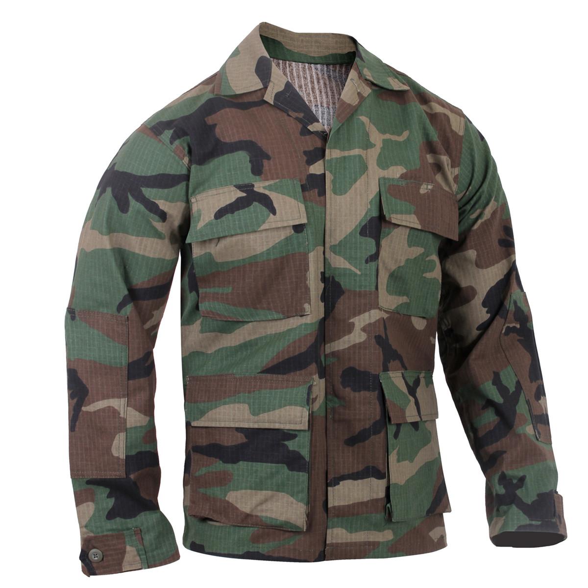 e9aa5d69b8db3 Shop Woodland Camo Ripstop Cotton BDU Jackets- Fatigues Army Navy Gear