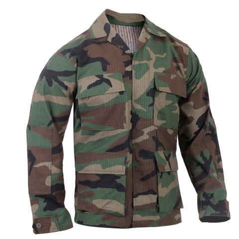 Woodland Camo Ripstop Cotton BDU Fatigue Jacket - Front View
