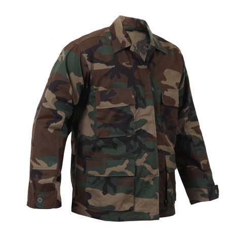 Woodland Camo Poly/Cotton BDU Fatigue Jacket - Right Side View