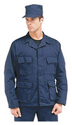 Navy Poly/Cotton BDU Fatigue Jacket - Model View