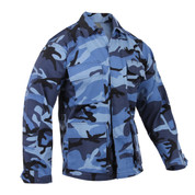 Sky Blue Camo BDU Fatigue Jacket - View