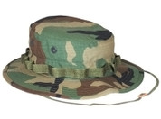 Woodland Camo Ripstop Cotton Military Boonie Hat - Full View