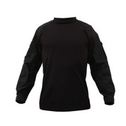 Black Tactical Combat Shirt - Front View