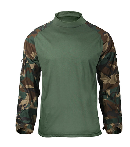 Woodland Camo Combat Shirt - Front View