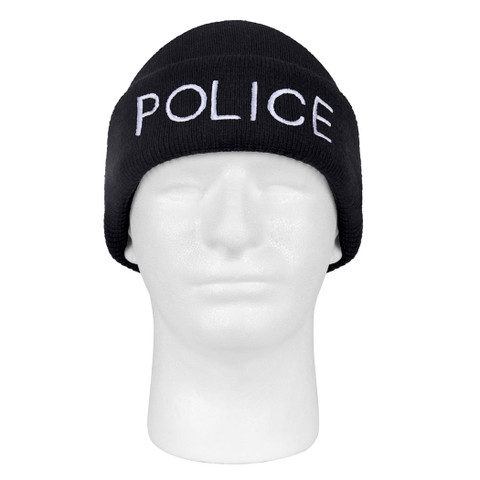Embroidered Police Watch Cap - Full View