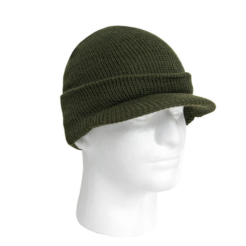 Military Olive Wool Jeep Caps - View