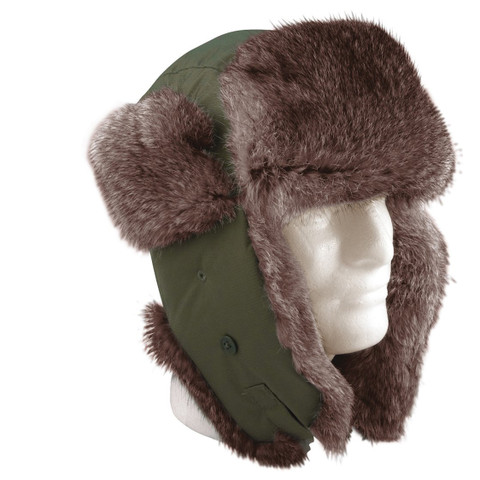 Olive Drab Army Style Flyers Trooper Hat - View