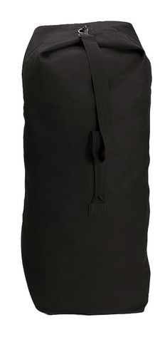 Black Heavy Canvas Large Top Load Duffle Bag - View