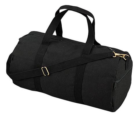 Black Canvas Sports Shoulder Bag - View