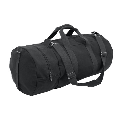 Black Canvas Double Ender Travel Gear Bags - Full View