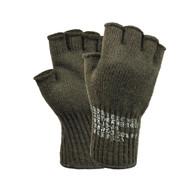 Military Olive Drab Fingerless Wool Gloves - Full View