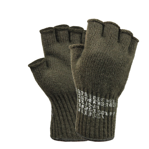 Military Olive Drab Fingerless Wool Gloves - Full View