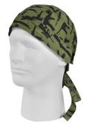 Olive Drab Gun Pattern Print Head Wrap