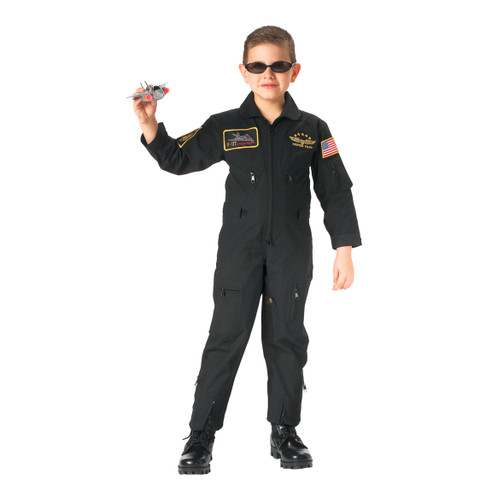 Kids Black Top Gun Flight Suit - View
