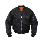 Kids Black MA 1 Flight Jacket - View