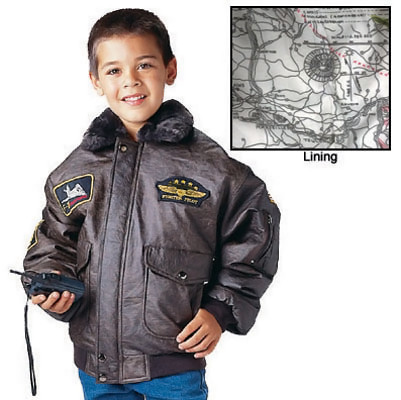 Kids B-15 Bomber Flight Jacket - Inside Map View