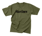 Kids Olive Drab Marines T Shirt - Flat View