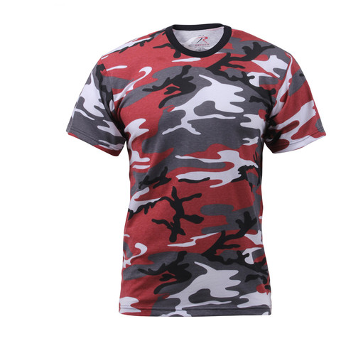 Kids Red Camo T Shirt - Front View