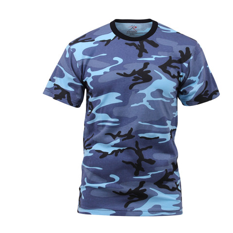 Kids Sky Blue Camo T Shirt - Front View