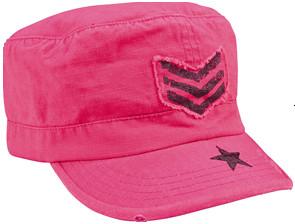 Kids Vintage Pink SGT Stripe Fatigue Cap - View