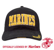 Deluxe Black Cap w/Gold Marines-Free Shipping