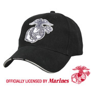 Deluxe Black Low Profile USMC Globe & Anchor Cap