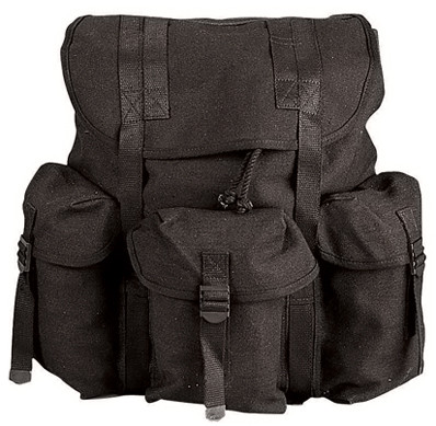 Black Canvas Mini Alice Backpack  - View