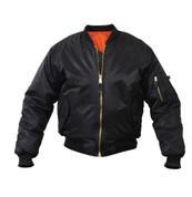 Rothco Black MA 1 Flight Jacket - Front View