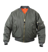 Rothco Sage Green MA-1 Flight Jacket - Front View