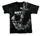 Vintage Navy Anchor T Shirt - Black