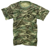 Vintage Woodland Camo T Shirt - Flat View