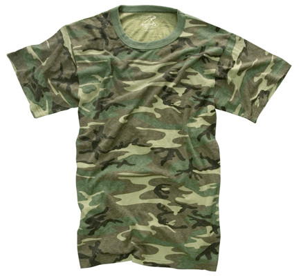 Vintage Woodland Camo T Shirt - Flat View